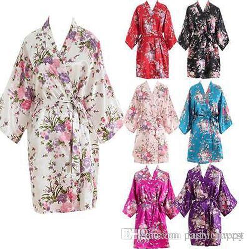 Novias Boda ropa de dormir Bata de baño informal de las mujeres camisón de las mujeres corto floral vestido de novia novia de la boda de dama de honor 2017