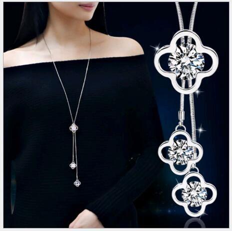 Moda semplice temperamento zircone gioielli donne nappa 3pcs trifoglio ciondolo collana lunga catena maglione argento oro