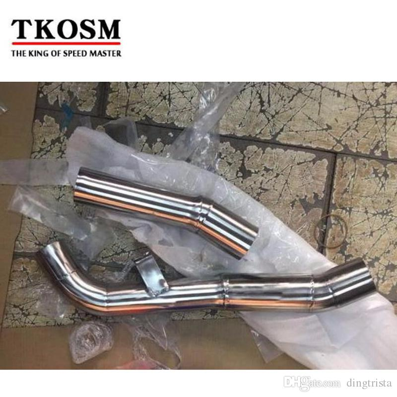 TKOSM Motorcycle Exhaust Middle Pipe Clamp On Mid Pipe CAT Eliminator Race Exhaust For Kawasaki Z1000 2007 2008 2009