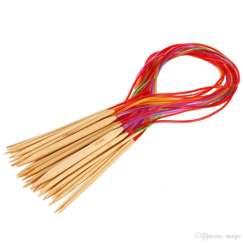 Strumenti per maglieria multicolore 18Pcs / set Smooth Nature Circular Bamboo Carbonized Knitting Needles Artigianato Set di strumenti per filati