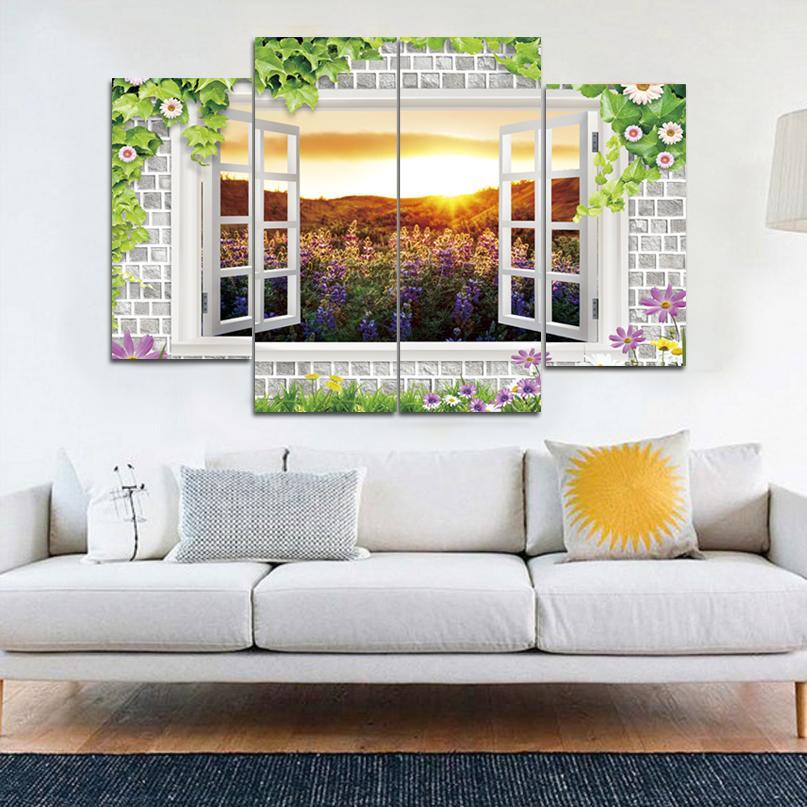 Außerhalb des Fensters Schöne Landschaft Rahmenlose Gemälde HD Print Painting