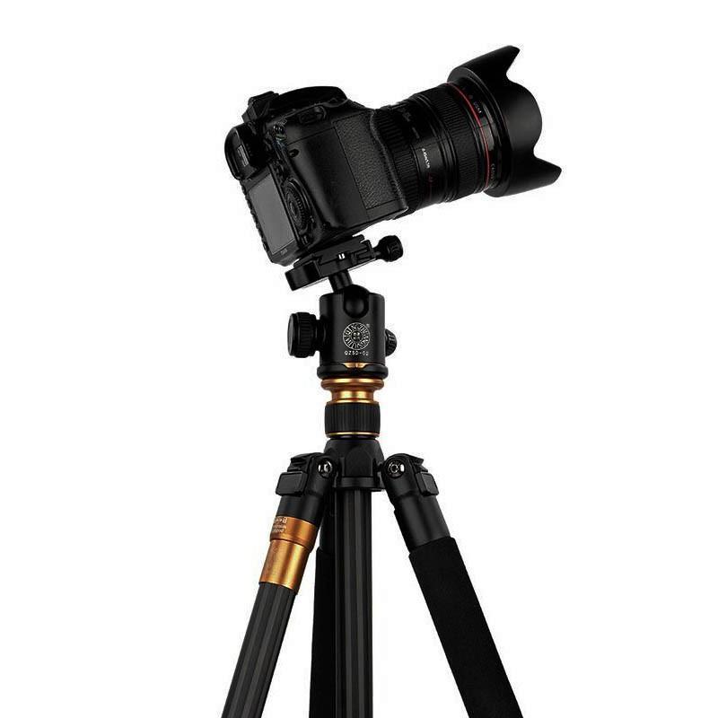 Original QZSD Q999C Cámara de fibra de carbono profesional DSLR Trípode Monopod + Cabeza de bola Soporte de cámara fotográfica portátil mejor que Q999 1pcs