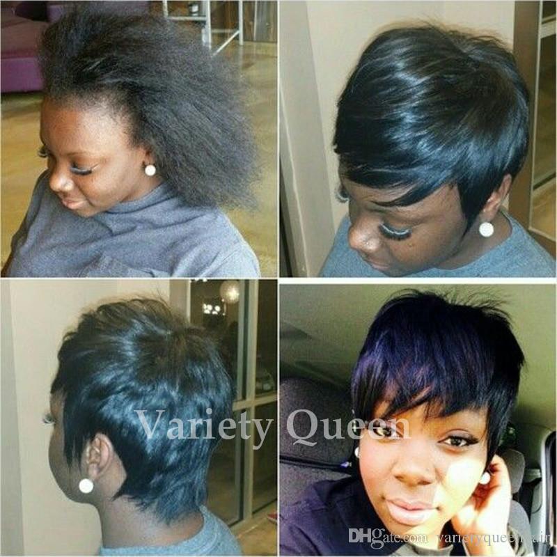 Heißer verkauf Celebrity Hair Cut 7A Keine Spitze Kurze Haarperücken billig Glueless Perücken Für schwarze Frauen
