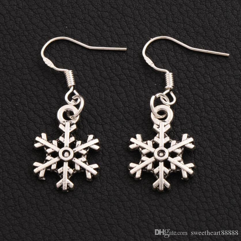 925 Silver Arched Snowflake Dangle Chandelier Earrings 14.4x35.1mm E794 40pairs/lot