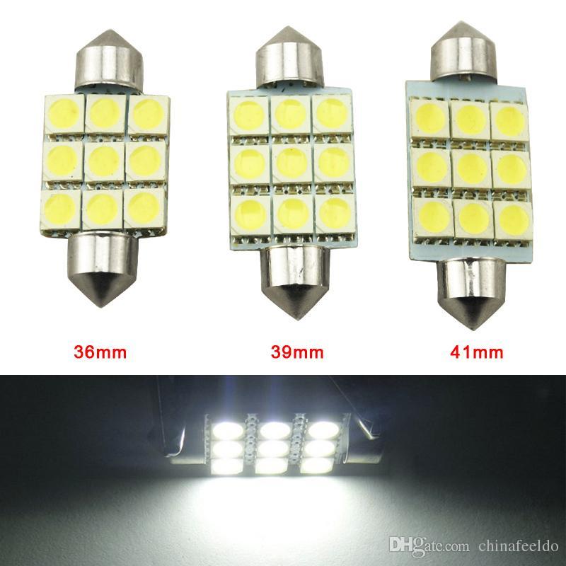 LEEWA 50pcs bianco 36mm 39mm 41mm 9SMD 5050 luci LED auto Festoon Dome lampadine a LED Lettura a LED 12V # 2789