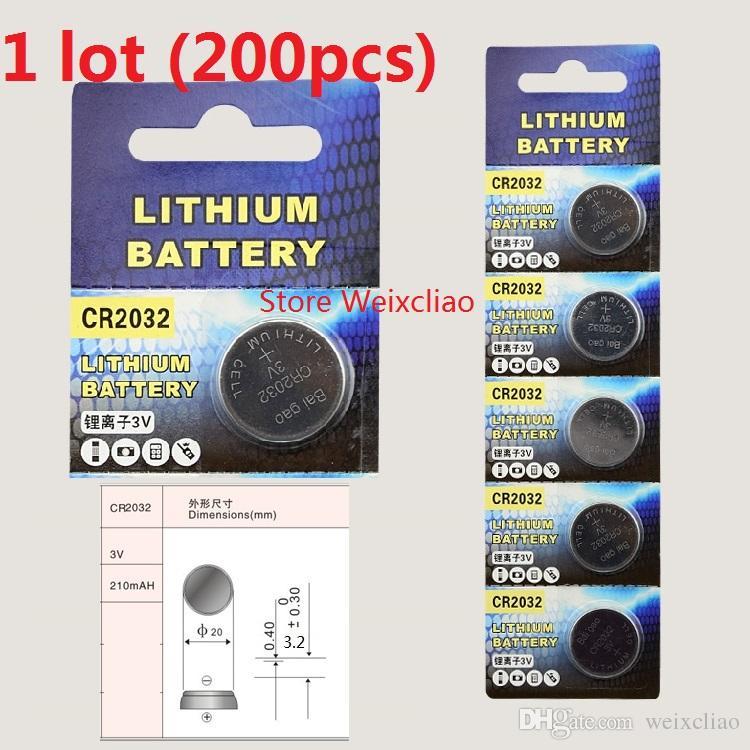 200 قطع 1 وحدة cr2032 3 فولت بطارية ليثيوم أيون زر خلية البطارية cr 2032 3 فولت بطاريات ليثيوم أيون عملة شحن مجاني