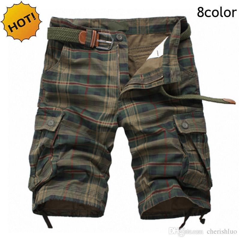 CALDO 2017 Estate Stile Sport Escursionismo Mens Dritto Grid 100% cotone tuta da allenamento Pantaloncini cargo Uomini Army Jungle Baggy Multi Pocket Short