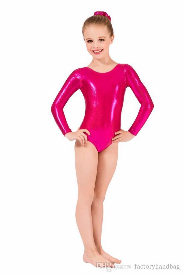 c19417f8c4b6 ... Child Long Sleeve Metallic Leotard Gymnastics Ballet Dance Toddler  Leotards Girls Lycra Shiny Dance Stage Performance ...