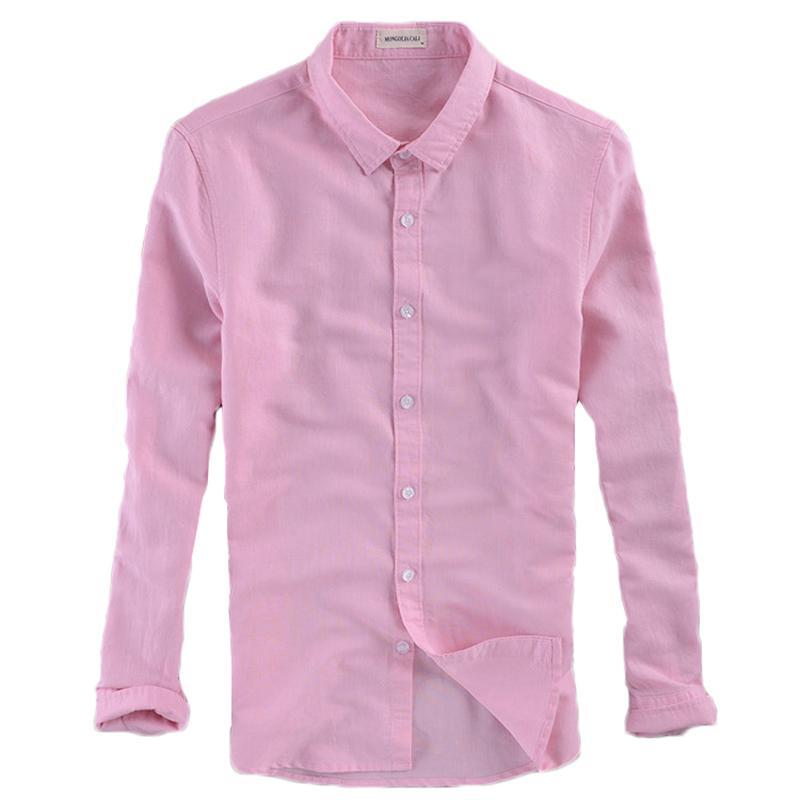 Оптовая размер M-4XL лето заморозить хлопок белье тонкий мужчины розовый\белый\синий повседневная рубашки с длинным рукавом свадьба офис мода рубашка тонкий