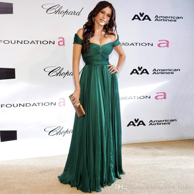 a17a546a63559 ... Emerald Green Chiffon Long Prom Dresses 2019 Sexy Off Shoulders A Line  Ruched Women Formal Gowns
