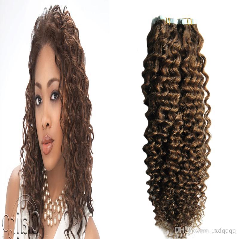 Extensions de ruban adhésif extensions de cheveux humains 100g 40pcs peau adhésive bande de trame cheveux bande humaine brésilienne en crépus bouclés