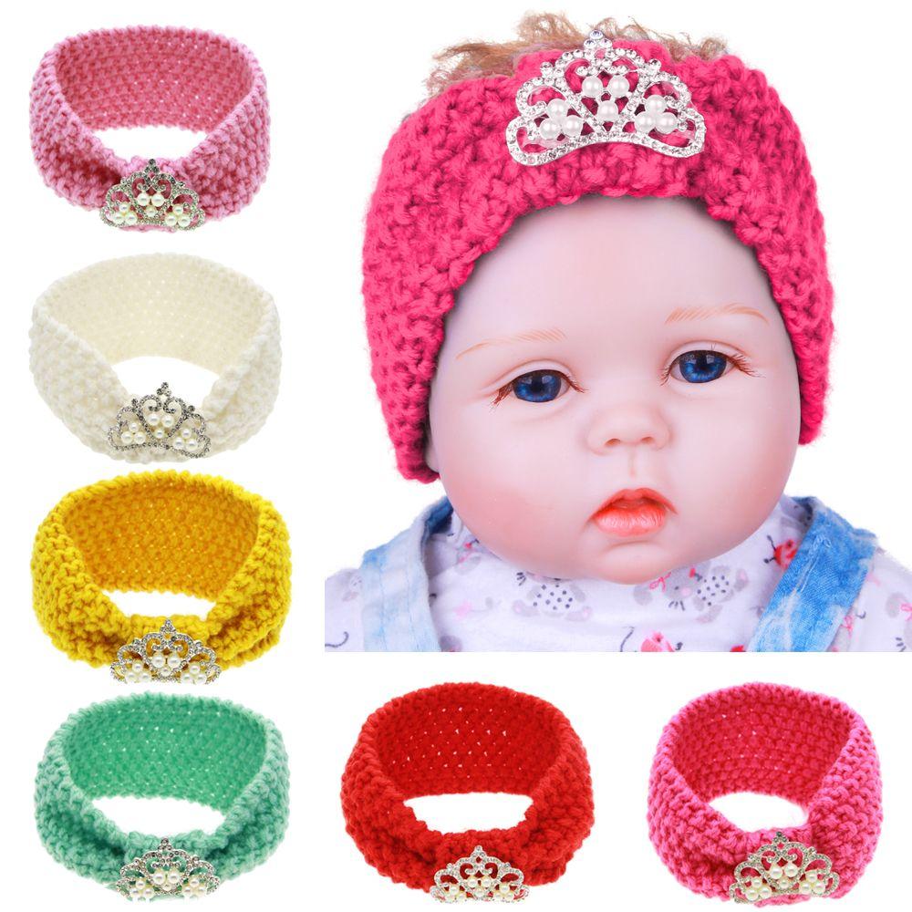 Baby Headbands Infant Woolen Yarn Crochet Warm Knitting Headband Tiara Girls Winter Ear Warmer Children Headwrap Hair Accessories KHA547
