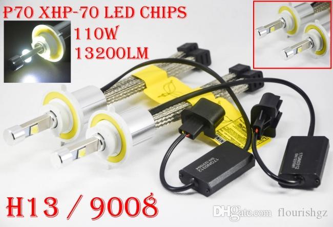 DHL 5 Sets H13 9008 P70 Cre 13200LM 110W LED Headlight Slim Auto CAR Kit 55W XHP-70 4LED Driving Fog Lamps Bulbs H7 H4 H8 H11 H16(JP) 9005/6