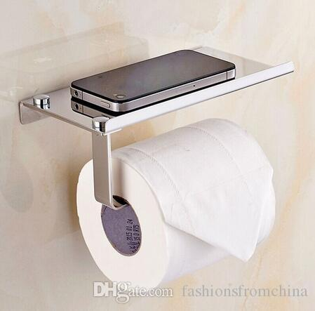 새로운 디자인 1 Pc 스테인리스 304 롤 종이 선반을 가진 이동 전화 홀더 수건 선반 화장실 티슈 박스 목욕탕 부속품