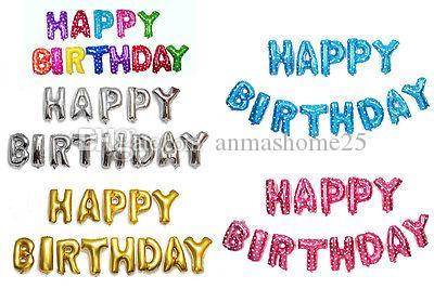 """Oro, argento, blu, rosa rosso 16 """"Happy Birthday Alphabet Lettera 13pcs Palloncini Foil PARTY Decor"""