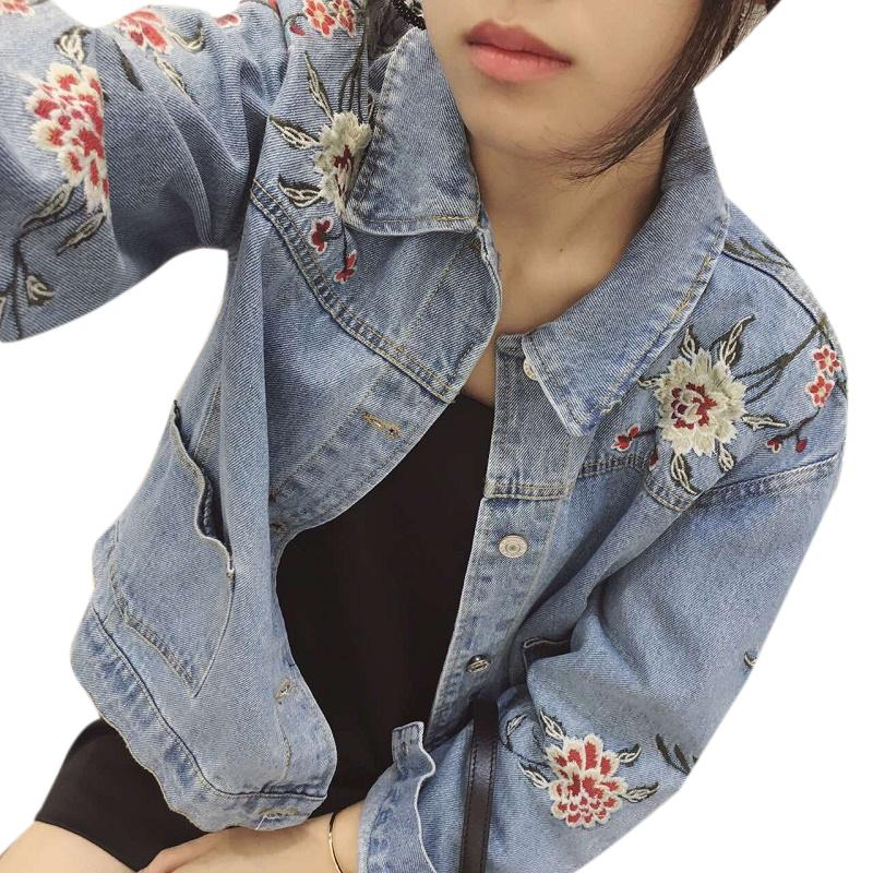 All'ingrosso- Uwback floreale ricamato giacca di jeans donna 2017 nuovo di zecca denim cappotti mujer jeans antivento oversize giacche donna TB1274