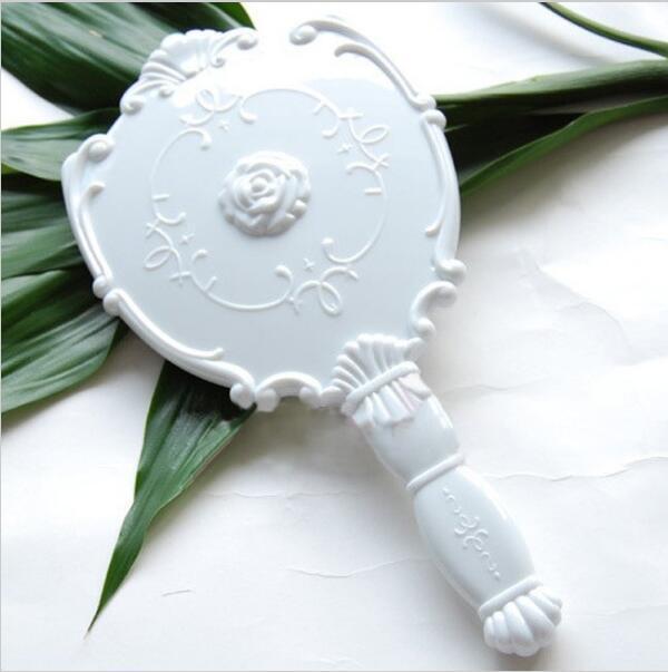 Große Größe Vintage Rose Kosmetikspiegel Kunststoff Make-up Spiegel Nette Mädchen Hand Make up # MD391 Drop Shipping