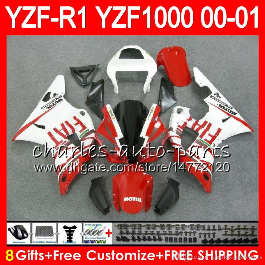 Karosserie für YAMAHA YZF1000 YZF 1000 YZFR1 00 01 98 99 74NO25 oben Rot weiß R 1 YZF-R1000 Karosserie YZF-R1 YZF R1 2000 2001 1998 1999 Verkleidungssatz