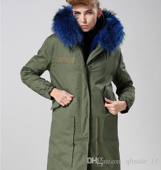 Clássico Azul pele de guaxinim guarnição Meifeng marca mulheres inverno casacos de neve azul pele de coelho forrado exército verde lona longa parka
