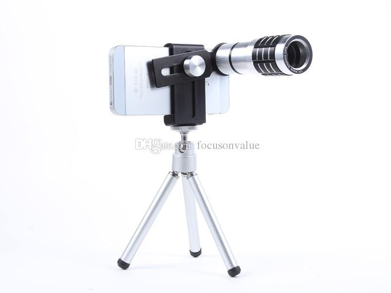 عدسات كاميرا زووم بصري عالمي 12X Telephoto Telescope Lens + Mount Tripod Kit للهواتف الذكية التي تعمل بنظام Android للهواتف الذكية