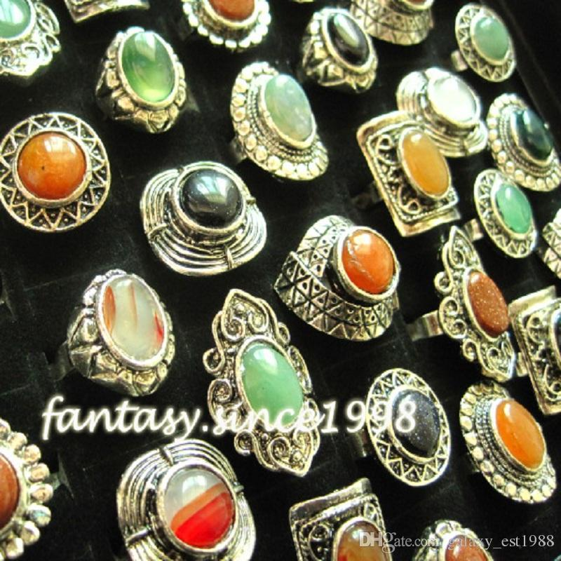 gros lot de styles mélangés assortis 24PCs / boîte femmes bijoux en pierre vintage anneaux nouvelles couleurs de mélange