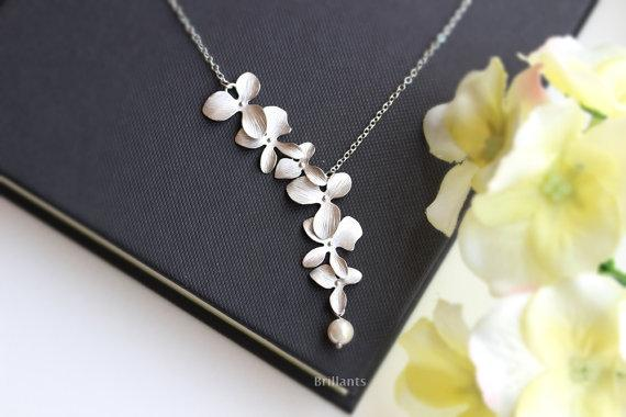 Wholesale- 1Pcs New Fashion Elegant Orchid Flower Pendant Gold Silver Plated Flower Necklace Charm Jewelry For Women Dress Accessories Gift