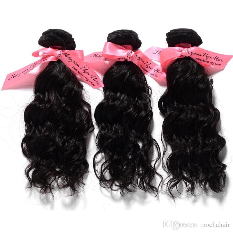"""4pcs / lot 12 """"-26"""" trame de cheveux de vague naturelle, cheveux vierges malaisiens en couleur naturelle peuvent être teints extensions de cheveux de haute qualité"""