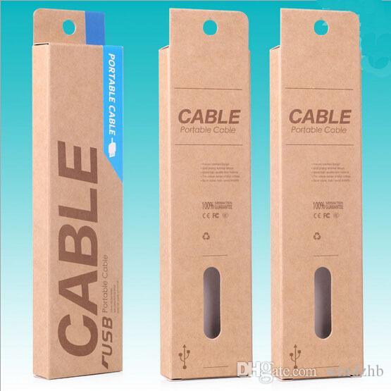 153 * 40 * 15mm Kraft Craft Paper Retail Packaging Bag Pakketbox voor Samsung Galaxy S4 Note 3 iPhone 4 5 S 6 1 M USB Oplaadkabel 1000pcs DHL