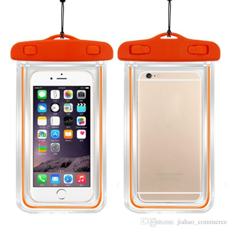 100% Sealed Fluorescenza luminosa trasparente sacchetto impermeabile di caso per il telefono astuto, telefono mobile, telefono Android