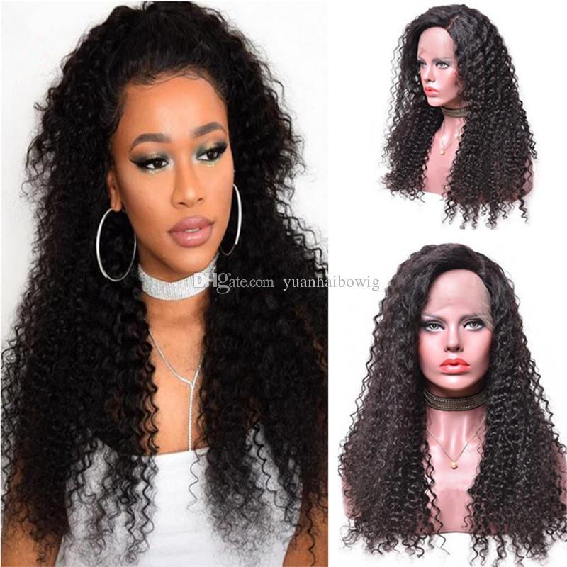 Crépus Bouclés Perruque de Cheveux Humains Vente Chaude 1 B Vierge Indienne Curls Dentelle Front Perruque pour les Femmes Noires Livraison Gratuite