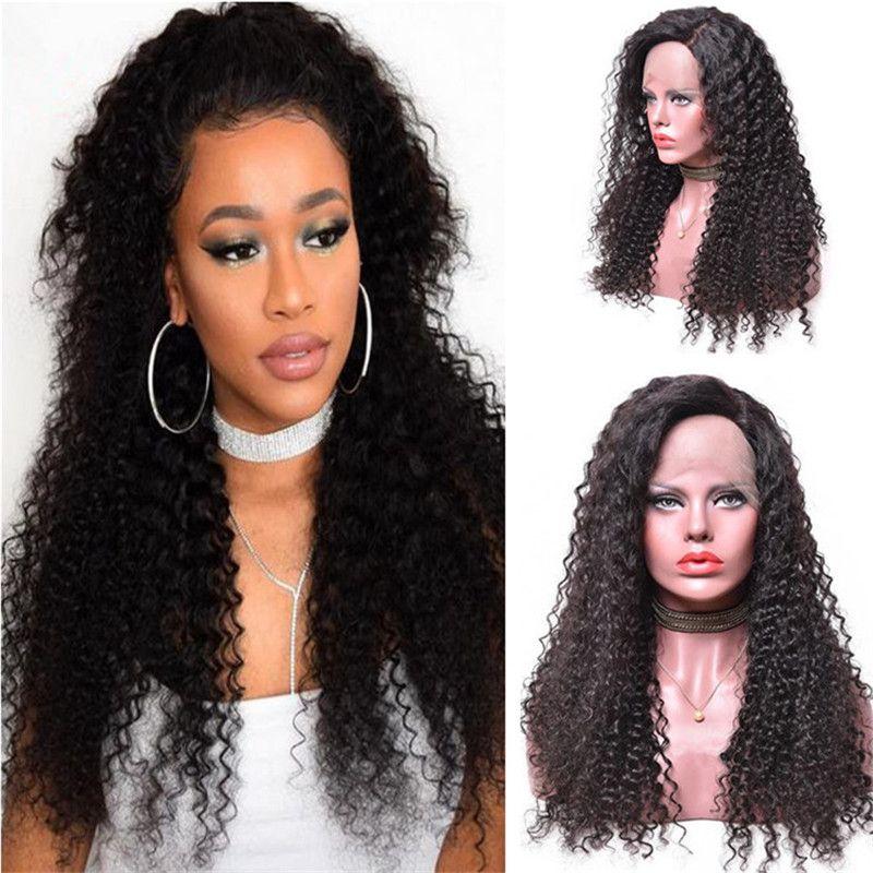 Verworrene Lockige Menschenhaarperücke Heißer Verkauf 1B Virgin Indian Curls Lace Front Perücke für Schwarze Frauen Kostenloser Versand