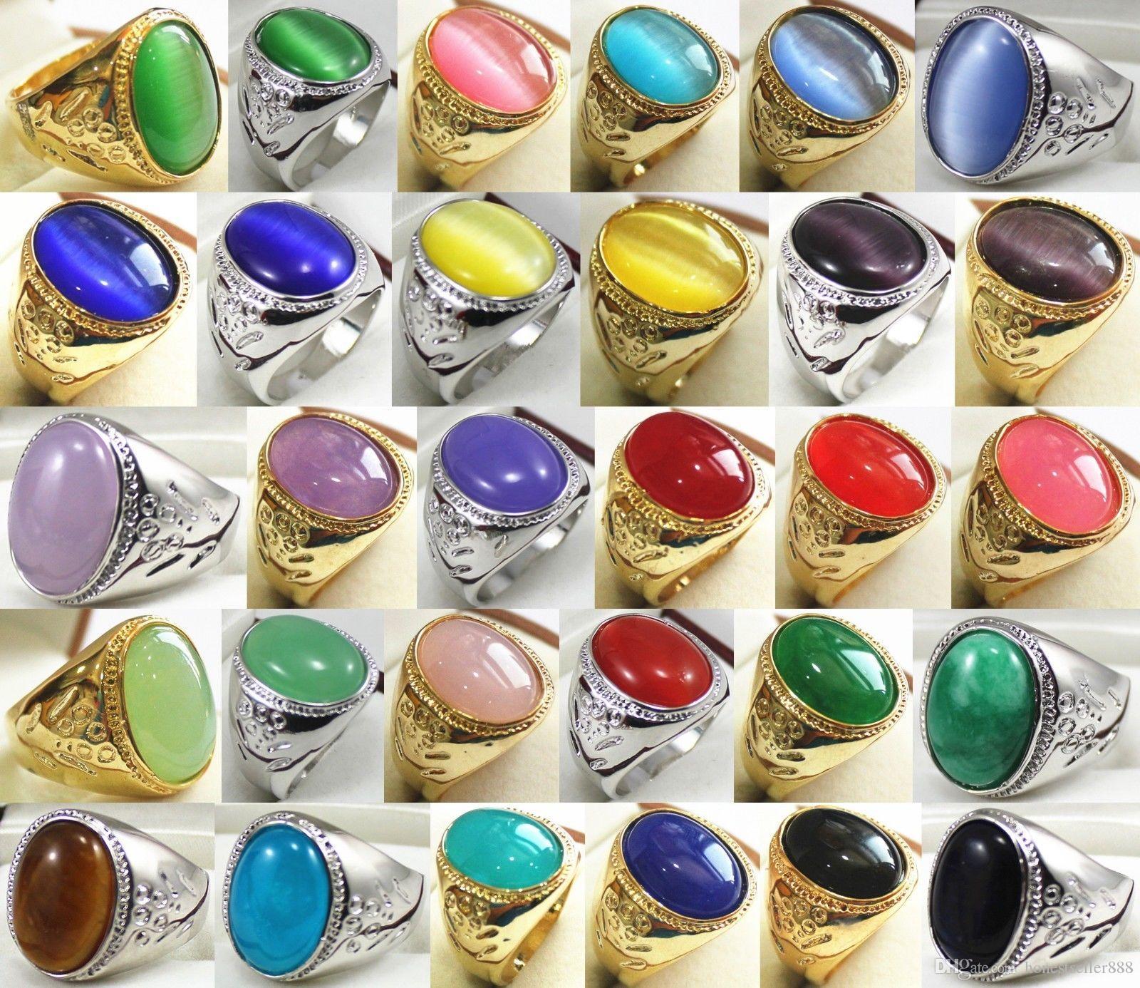 13 * 18mm vert / rouge / violet / bleu / jaune jade rouge agate Jade 18KGP hommes taille de l'anneau: 8.9.10.11