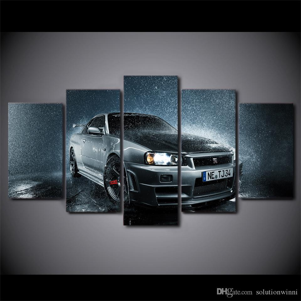 5 Pcs/Set Framed Printed Mordern Luxury Grey Car In Rain Poster Modern Home Wall Decororation Canvas Wall Picture Print Painting