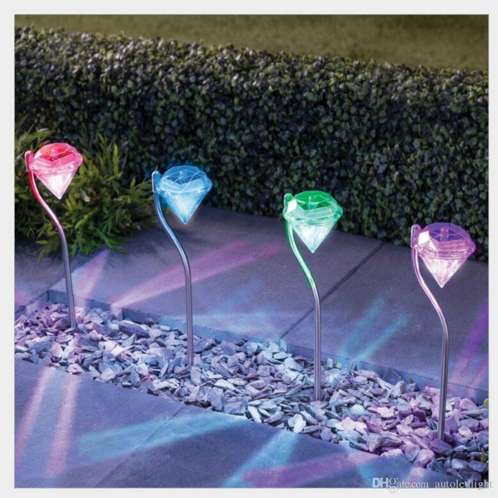 LED Solar Powered Diamonds Lawn Light Solar Light Pathway home Garden Path Stake Lanterns Outdoor Lamps