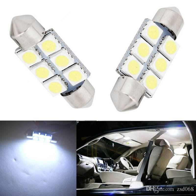 السيارات 6SMD 36MM 12V C5W LED لمبة للحصول على 5050 لوحة أرقام سيارة أدى كول 12V العاصمة البيضاء