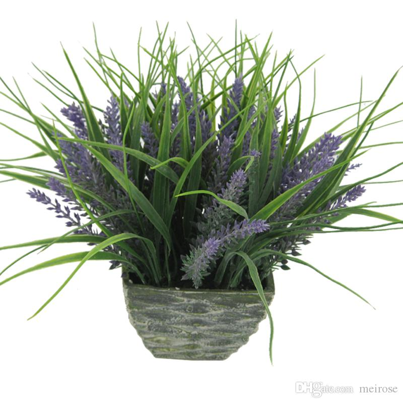 Artificial Lavender Plants in Terracotta Pots Table Flower Green Bonsai Display Flower with Tapered Square pots for Home Decor 125-1032