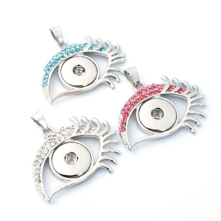 Nuovo assortito assortito argento donne occhio zenzero 18 millimetri bottoni a pressione ciondolo pendente fascini collane all'ingrosso lotti