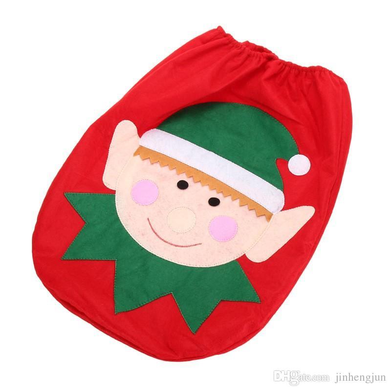 2017 Cartoon Elf Toilet Seat Cover Christmas Decorations Pad Water Tank Rug Santa Bathroom