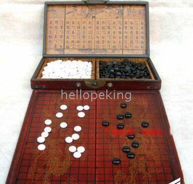 Vente en gros pas cher chinois Rare Go Game Set en cuir Box Goban Board and Stones