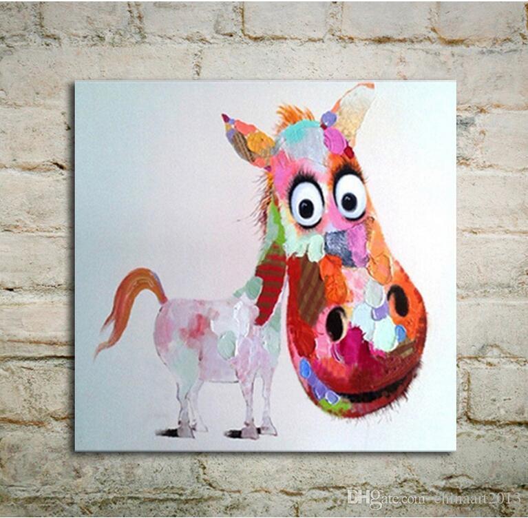No Frame Modern Art Pittura ad olio Rosa Logy Asino su tela Decorazione della parete dipinta a mano per la camera dei bambini