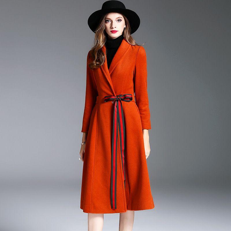2017 Estilização Ocidental Casaco de Outono E Inverno As Mulheres Usam Com Splicing Bowknot Turn-down Collar Longo Casaco