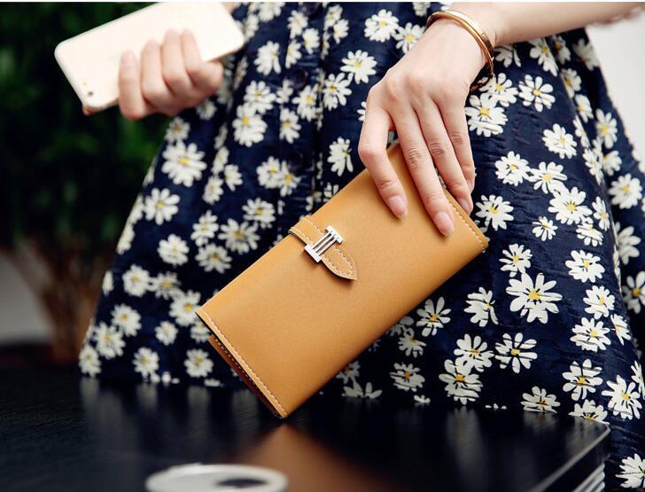 Moda Kadın Cüzdan Lüks Kadın Carteira Feminina Uzun Cüzdan Bayanlar PU Deri Çanta Kart Sahipleri Debriyaj Para Çantası