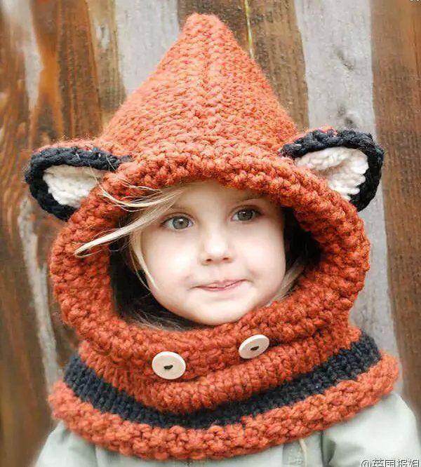 Kış Beanie çocuklar Çocuk Hayvan Sıcak Fox Hat Kapşonlu Eşarp Kış kulaklığı yün Örme Caps