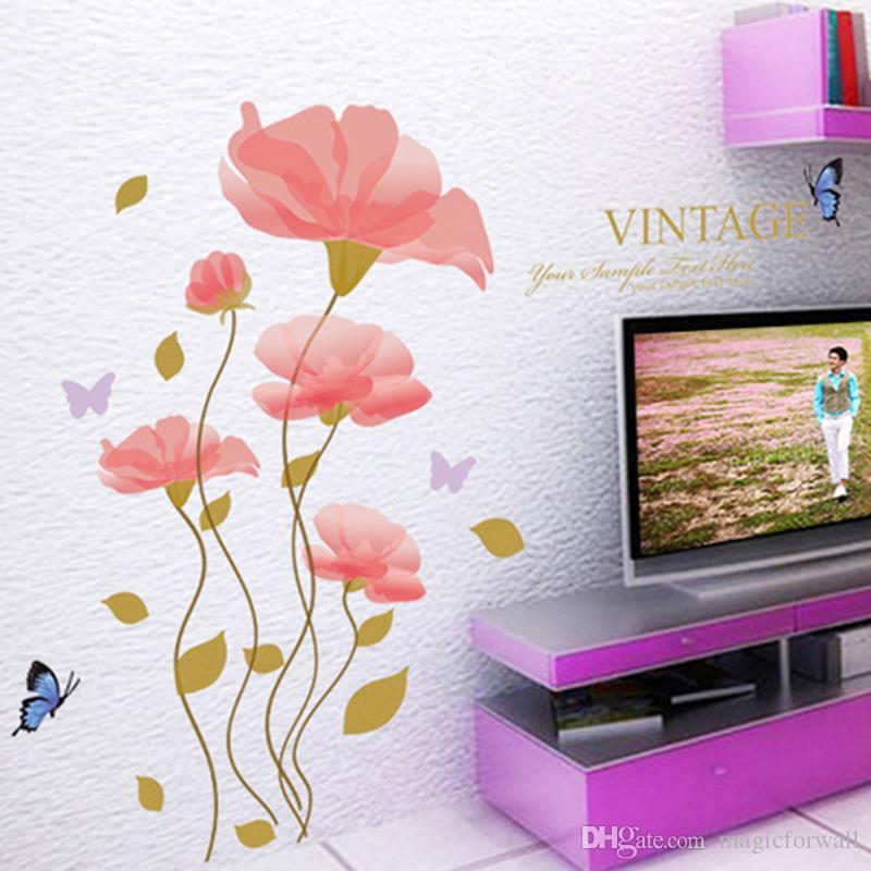 Büromöbel grafik  Großhandel Rosa Blumen Home Decor Wandaufkleber Wohnzimmer ...