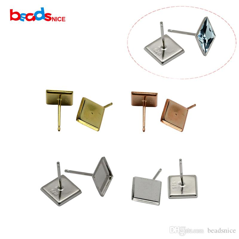 Beadsnice 925 Sterling Silver Stud Earring with Square Bezel Setting fit 9x9mm for Earrings Making Wholesale ID26846