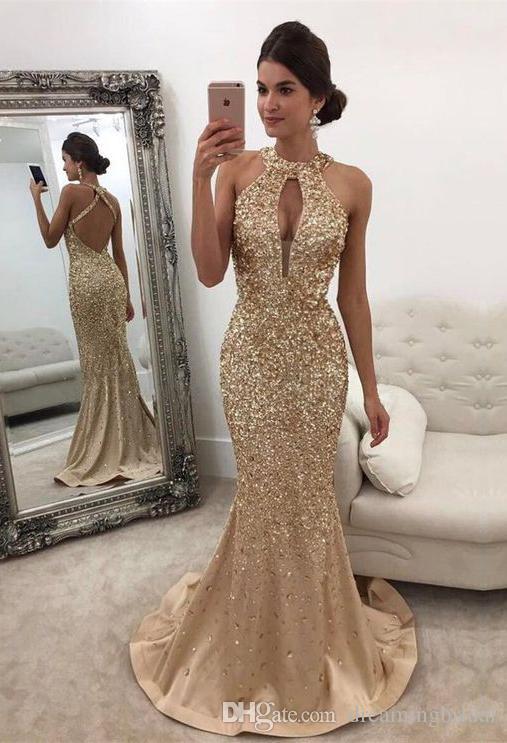 Champagne Mermaid Abendkleider Kristall Neckholder Lange Abendkleider Criss-Cross Sleeveless Backless Party Kleider Für Kleider