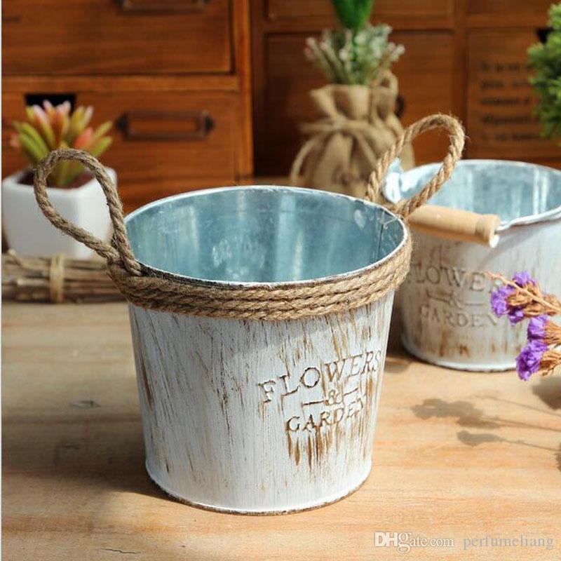 Vintage Metal Planter Garden Plant Herb Pot Rope Handles Wedding Centrepiece
