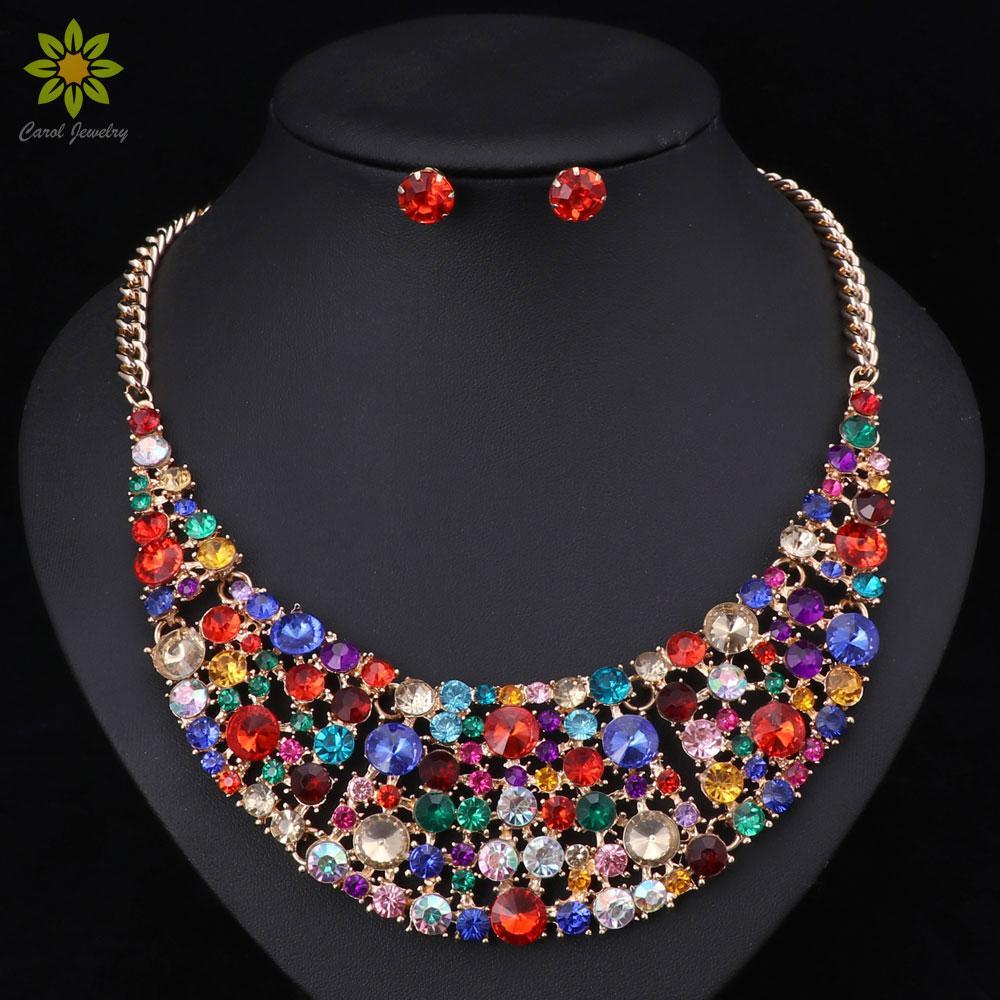 6Color 패션 여성 웨딩 목걸이 세트 빈티지 콜라 라인 석 크리스탈 초커 목걸이 펜 던 트 Ethnic Maxi Jewelry Sets