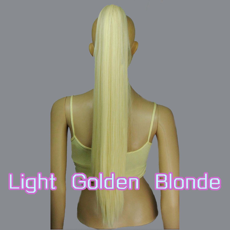 Bionda chiaro dorato 65 centimetri Cosplay coda dritta con clip resistente al calore