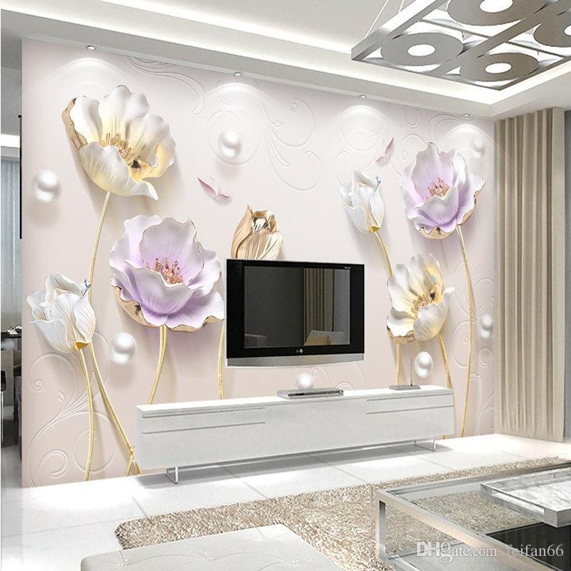 фейфан фото настенная роспись рельефный новый цветок сливы элегантный 3D гостиная спальня фон стены обои для стен 3 d
